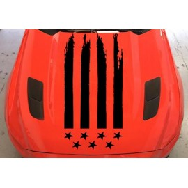 Tattered American Flag Hood Graphics (2015-2017 Mustang )